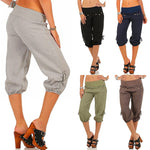 Loose Button Strecty Casual Capri Pants