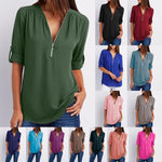 V-neck Zipper Large Size Women's Long-Sleeved Loose Chiffon 12Colors 8Sizes