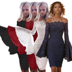 Sexy Off Shoulder Flare Sleeve Lace Slash Neck Long Sleeve Elegant Bodycon Party Club Dresses
