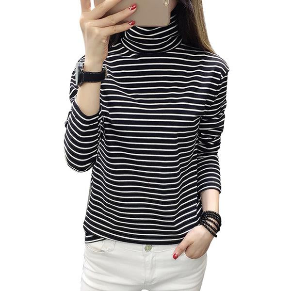 Slim Long Sleeve Striped High Collar Bottoming Shirt