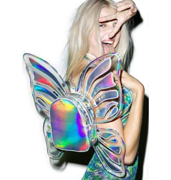 Laser Holographic Butterfly Angel Wings Backpack