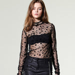 Fashion Applique Sheer Tops Black Long Sleeve Sexy Tee Shirt
