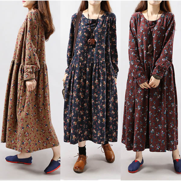 Flare Silhouette Flower Pattern Maxi Dress