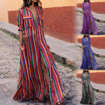 Fashion Color Striped Long Shirt Dress