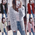Autumn And Winter Loose Long-Sleeved Fluffy Thin Cardigan Coat