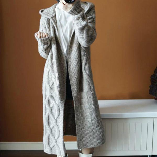 Hooded Thick Long Knit Cardigan