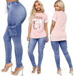 Faded Drawsring Side Pockets Skinny Pencil Jeans