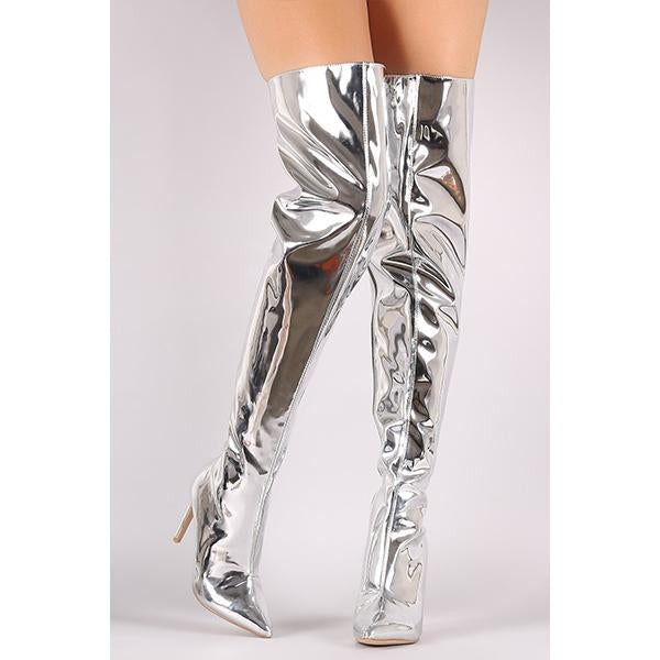 Vegan Mirror Leather  Pointy Toe AMI Clubwear Thigh High Boots Farrah Abraham Inspired