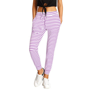 Striped Drawstring Casual High Waist Jogging Pants