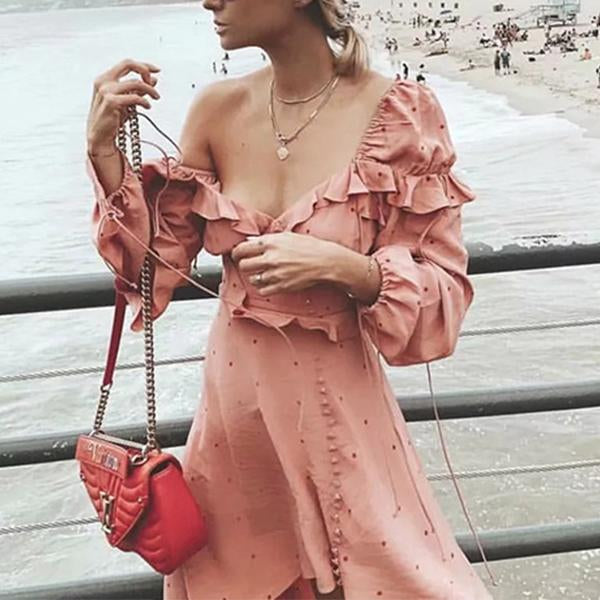 Point Off-the-shoulder Irregular Dress