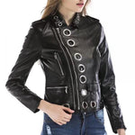 Round Hole Zipper PU Leather Jacket