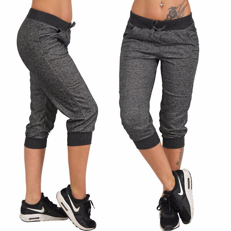 Solid Color Lace-up Casual Capris Sweatpants