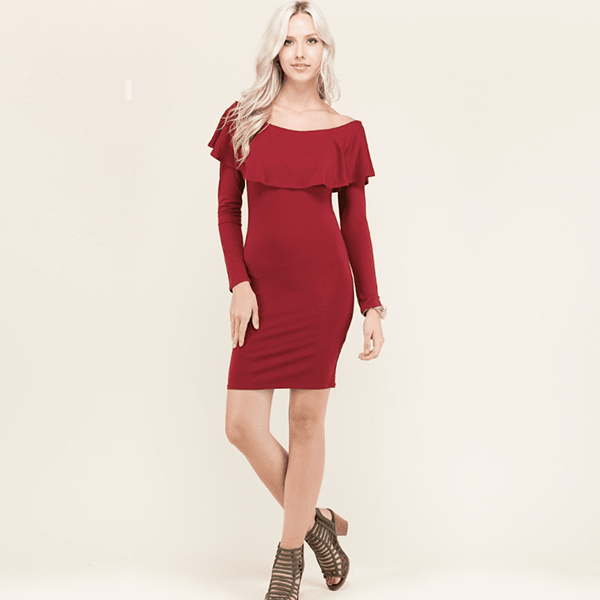 Fashion Leaky Shoulder Ruffle Dress