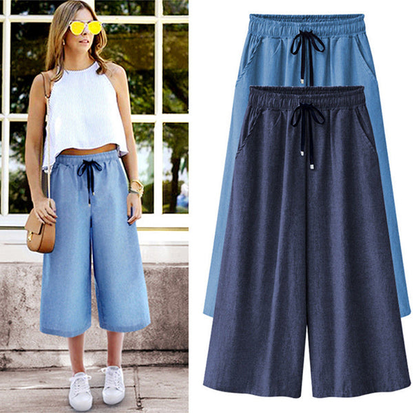 Casual Lightweight Drawstring Wide Leg Cropped Denim Pants
