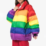 Rainbow Color Stand Collar Down Jacket