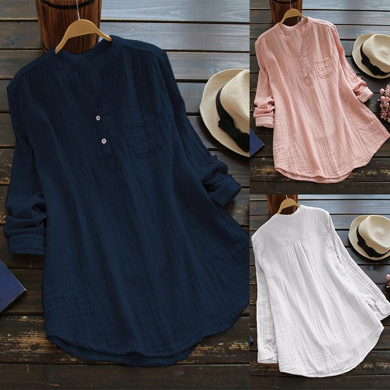 Solid Long Sleeve Stand Collar Cotton Shirt