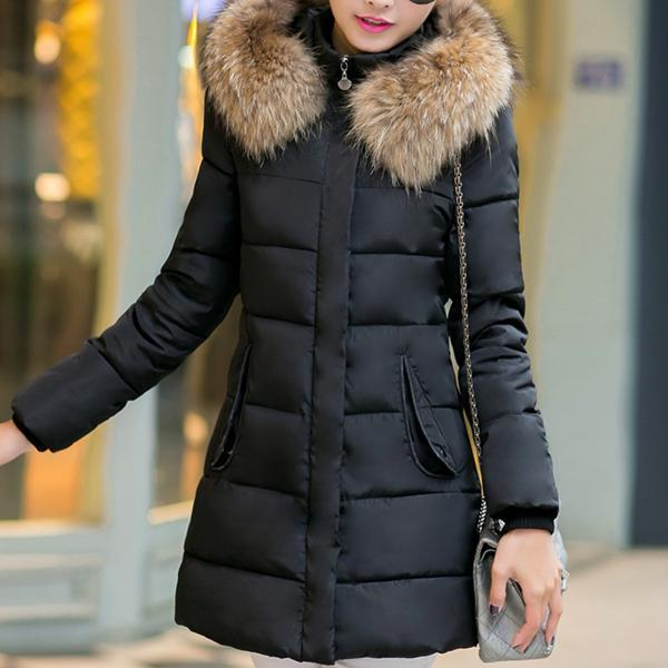 Medium Long Large Fur Collar Down Jacket