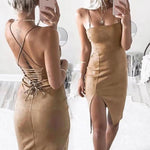 Suede Back Cross Strap Slit Wrap Buttock Skirt