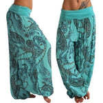 Casual Loose Comfy Print Bell-Bottoms Wide Leg Bloomers