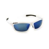 USA1 Performance Sunglasses White Gloss Blue Flash Lens