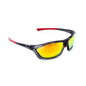 USA1 Performance Sunglasses Black Onyx Red Flash Lenses Red Tips
