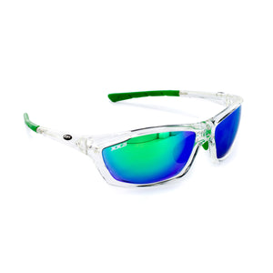 USA1 Performance Sunglasses Crystal Green Flash Lenses Green Tips