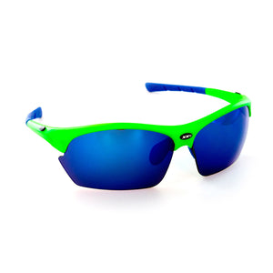 France2 Performance Sunglasses Hyper Green with Blue Flash Lens
