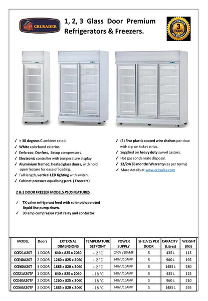 Crusader Premium C-Store Glass Door Refrigerators and Freezers