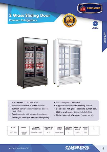 CRUSADER two sliding door PREMIUM commercial fridge