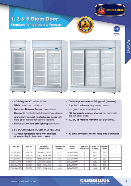 CRUSADER PREMIUM 2 Glass Door Freezer