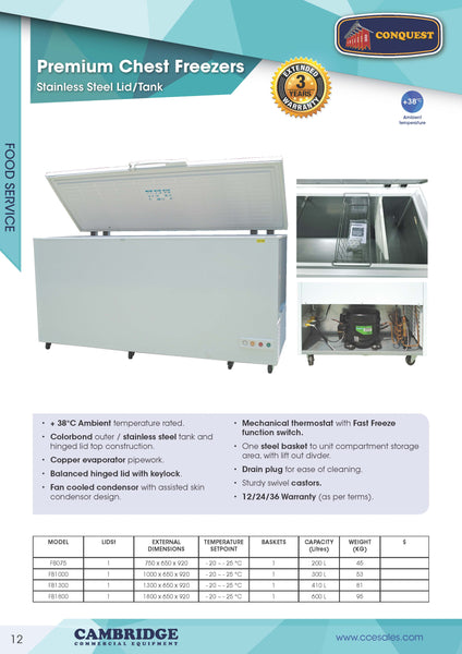 CONQUEST 410 litres PREMIUM Stainless Steel Lid Commercial Freezer