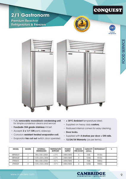 CONQUEST PREMIUM Upright Reachin GN Freezer