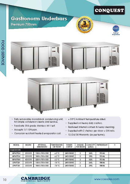 CONQUEST MPW7T2H underbar refrigerator