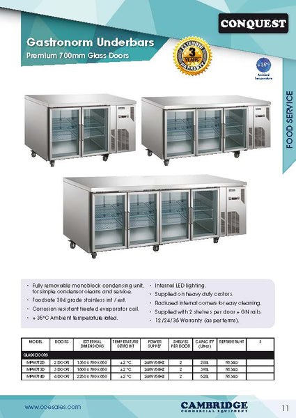 CONQUEST 700 mm depth Glass Door Underbar Refrigerators