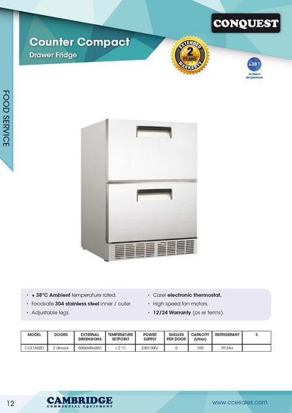CONQUEST Model CCE160SD underbar drawer refrigerator.