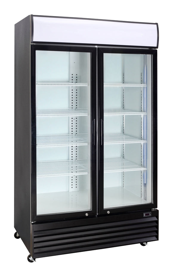 2 Glass Door PREMIUM refrigerator CRUSADER CCE1130 BLACK - Cambridge Commercial Equipment