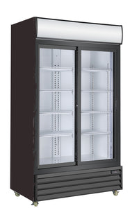 2 Sliding Glass Door PREMIUM refrigerator CRUSADER CCE1130S BLACK - Cambridge Commercial Equipment