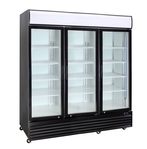 3 Glass Door PREMIUM refrigerator CRUSADER CCE1630 BLACK - Cambridge Commercial Equipment