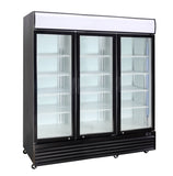 3 Glass Door PREMIUM refrigerator CRUSADER CCE1630 BLACK