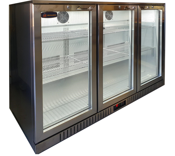 3 Glass Door Backbar Refrigerator CCE330SS - Cambridge Commercial Equipment