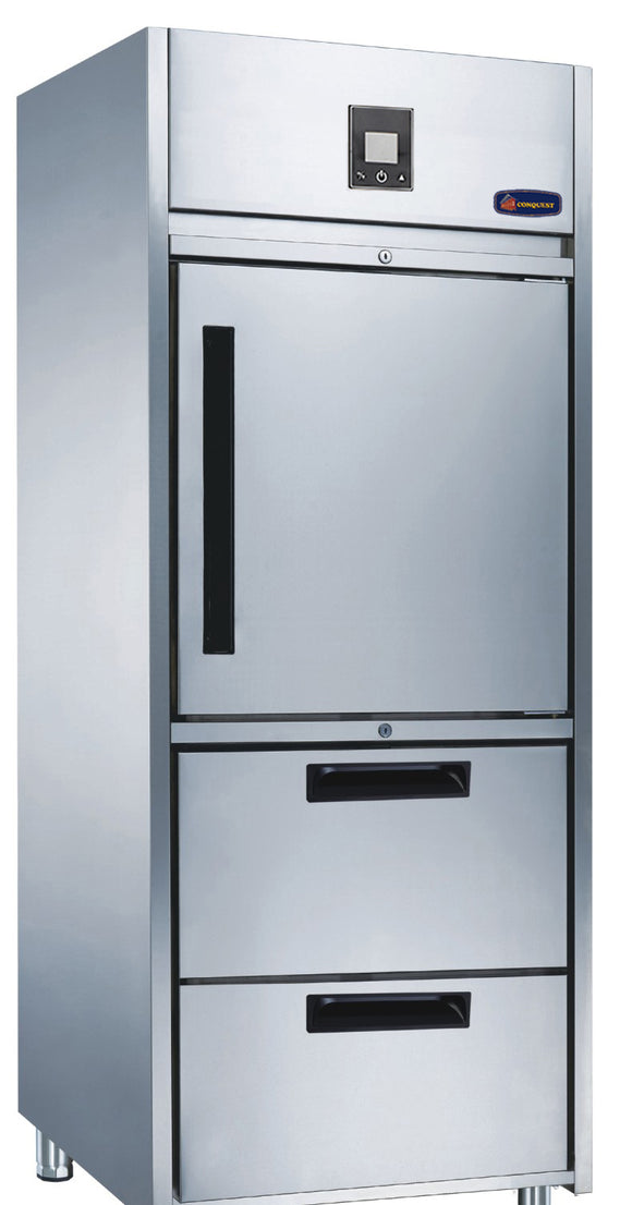 1 Half door 2 Drawer CONQUEST MPW8U1HN Upright GN Refrigerator - Cambridge Commercial Equipment