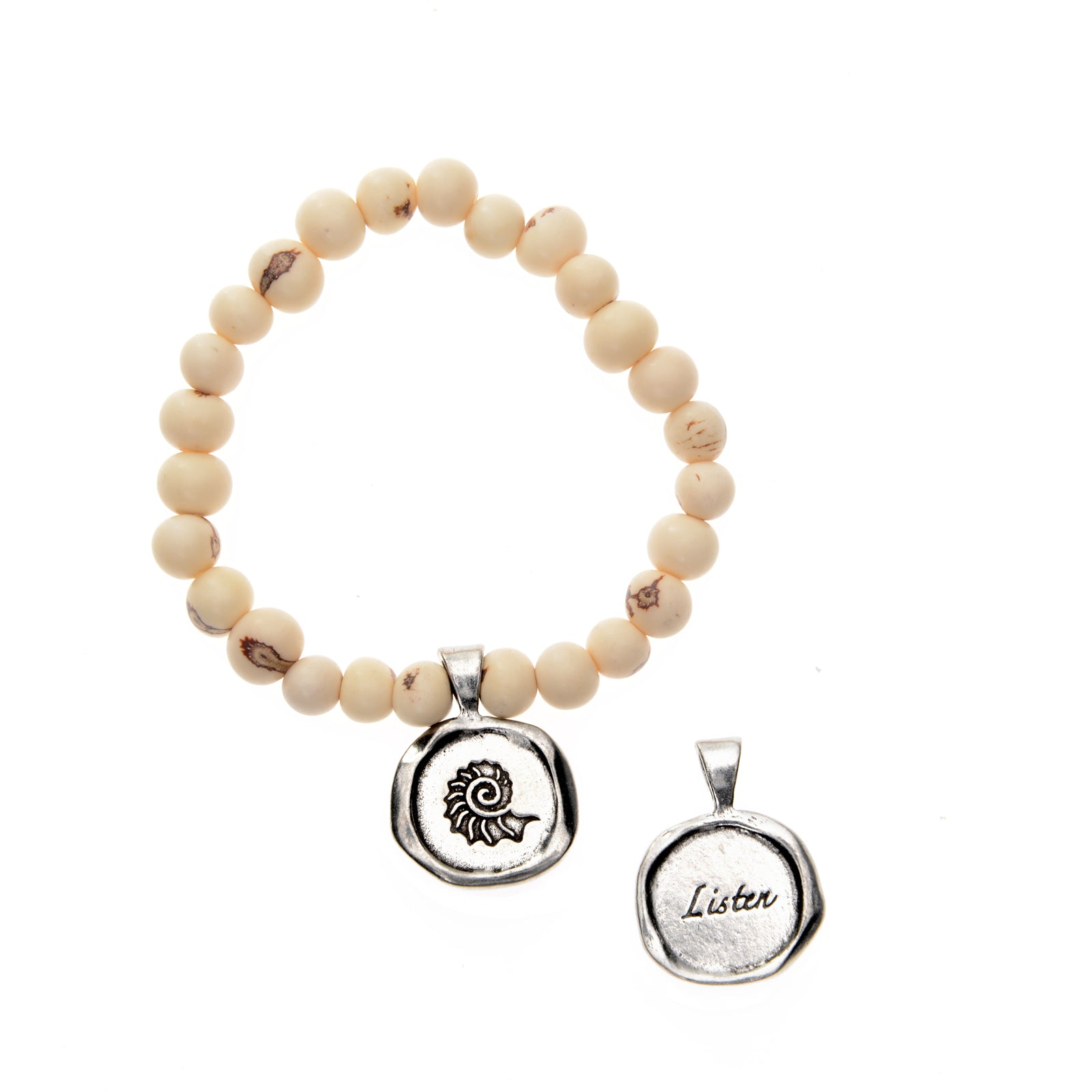 White Acai Seeds of Life Bracelet with Wax Seal