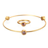 June Alexandrite Birthstone Bangle Set