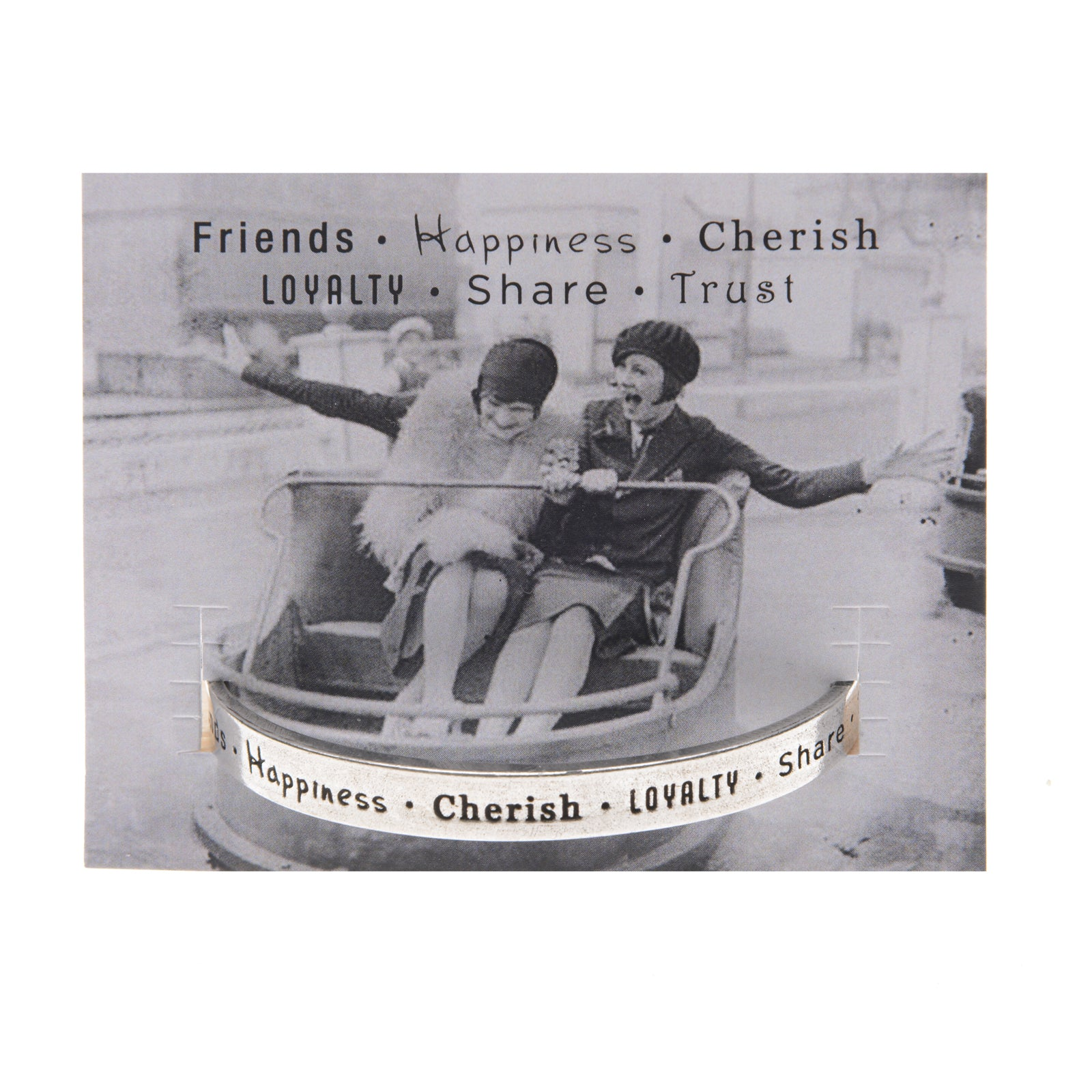 Friends-Happiness-Cherish Quotable Cuff Bracelet