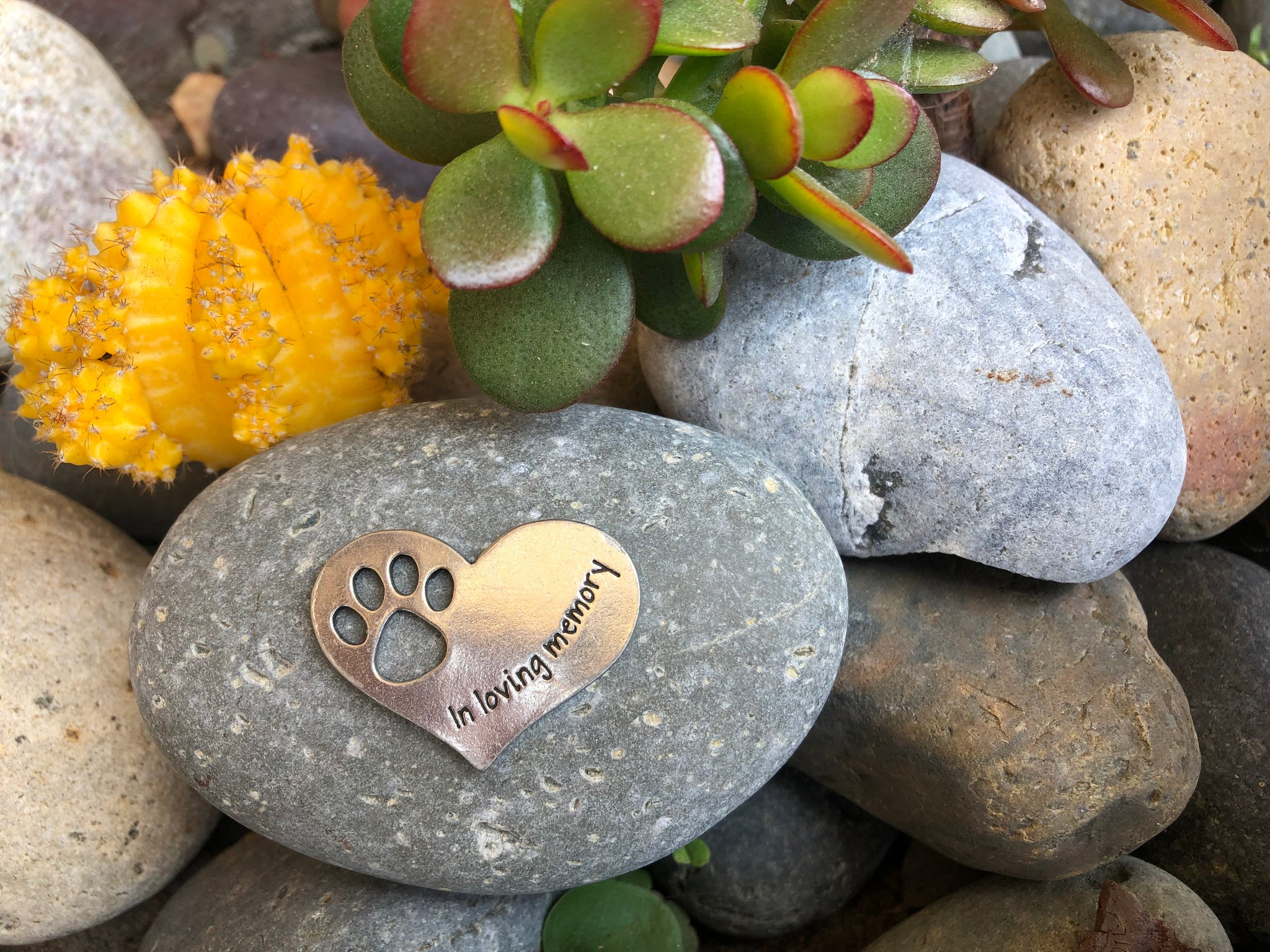 Pet Memorial Gift In Loving Memory Paw Print Stone for Dogs or Cats - Sympathy Remembrance Gift by Whitney Howard Designs