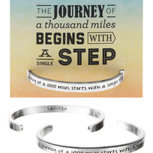 Journey of a 1000 Miles Starts With a Single Step Quotable Cuff Bracelet