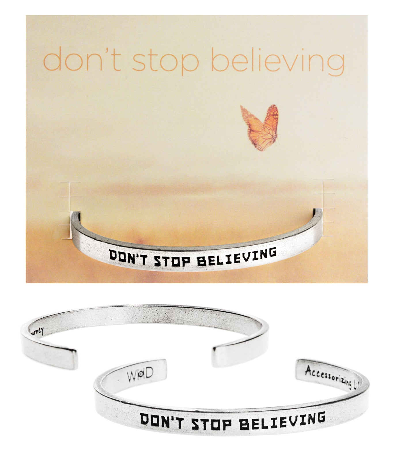 Don't Stop Believing Quotable Cuff Bracelet - Whitney Howard Designs