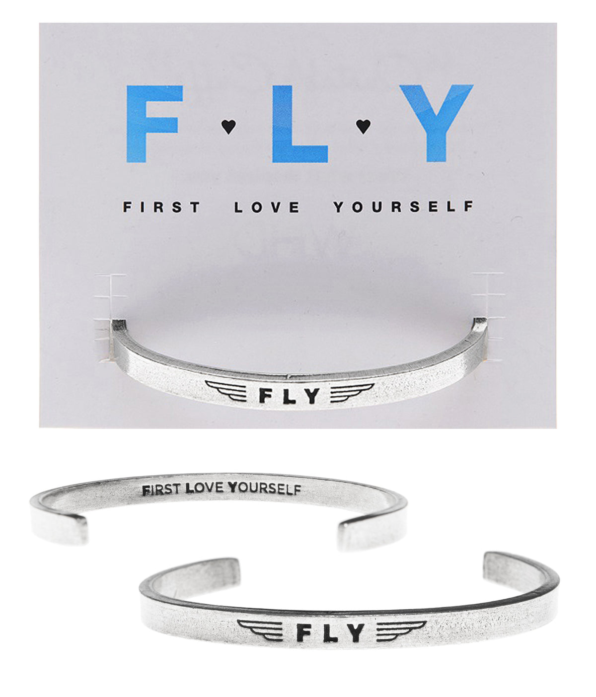 FLY (inside - First Love Yourself) Quotable Cuff | Quotable Cuff Bracelets