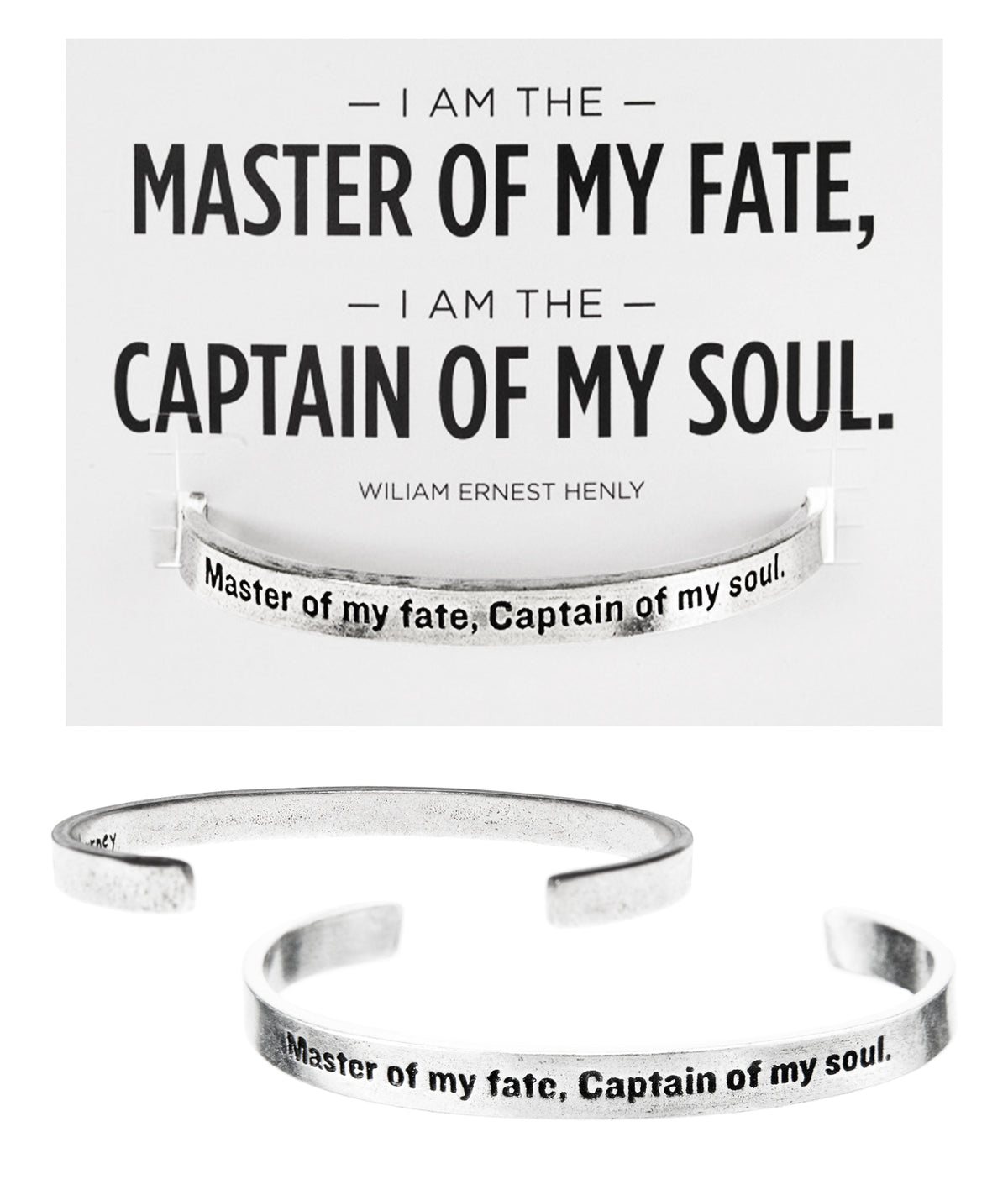Master Of My Fate, Captain of my Soul Quotable Cuff Bracelet