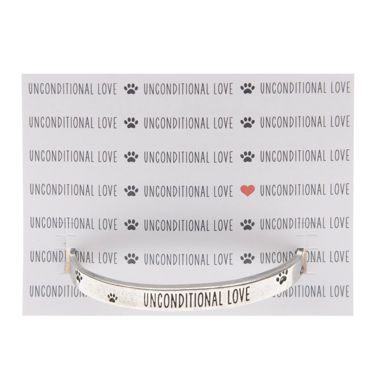 Unconditional Love Cuff Inspirational Jewelry Bracelet - Pet Sympathy Gift or Memorial by Quotable Cuffs